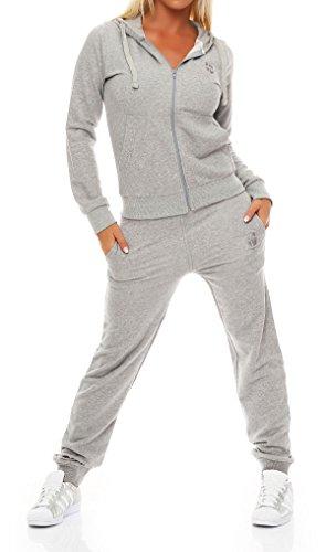 Gennadi Hoppe Damen Jogginganzug Trainingsanzug Sportanzug, hellgrau,L