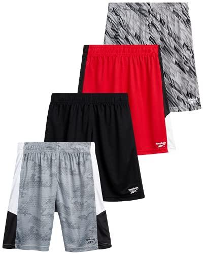 Reebok Boys' Athletic Shorts - Athletic Performance Basketball Shorts (4 Pack), Size Large, Red/Black/Shark