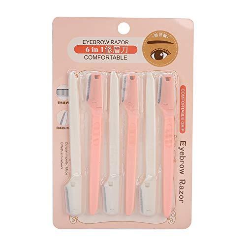 Recortador de cejas de 6 piezas, moldeador de cejas, herramienta de depilación de cejas portátil, accesorio de maquillaje para cejas, pelusa de melocotón y todo tipo de vello facial