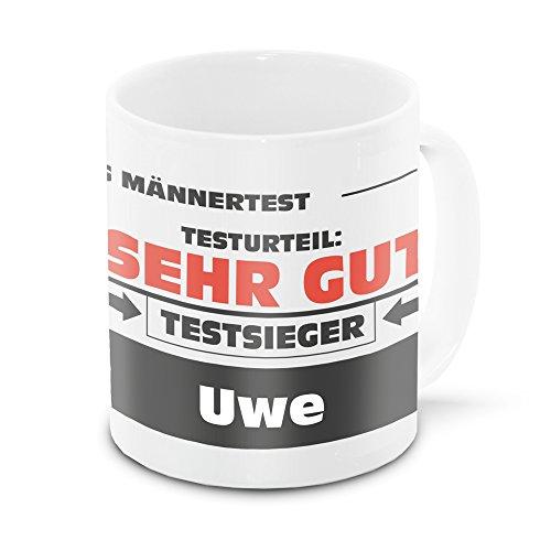 Namens-Tasse Uwe mit Motiv Stiftung Männertest, weiss | Freundschafts-Tasse - Namens-Tasse