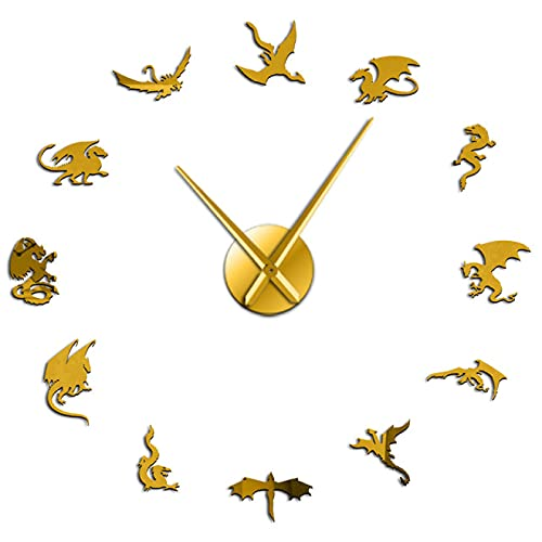 hufeng Reloj de Pared Black Evil Dragon Cool Wall Art Reloj de Pared Decorativo Cuarzo Acrílico Espejo Adhesivo Medieval Mythical Dragon Reloj de Pared Grande Gold 47 Inch
