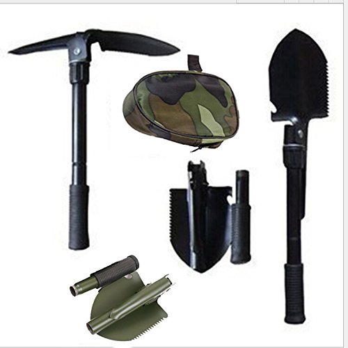 Gshy - Pala plegable portátil militar y pico 4 en 1 para acampada, senderismo, mochila, pesca, zanja, herramienta de corte, coche, de emergencia
