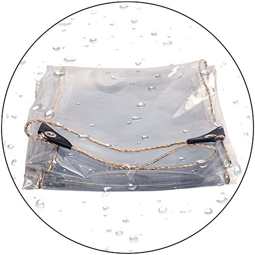 LIANGLIANG Tarpaulin Waterproof Heavy Duty, Anti-Aging Insulation Soft Glass Waterproof Cloth, PVC Grommet Edging Anti-Rust, Patio Greenhouse Tent (Color : Clear, Size : 1x2m)