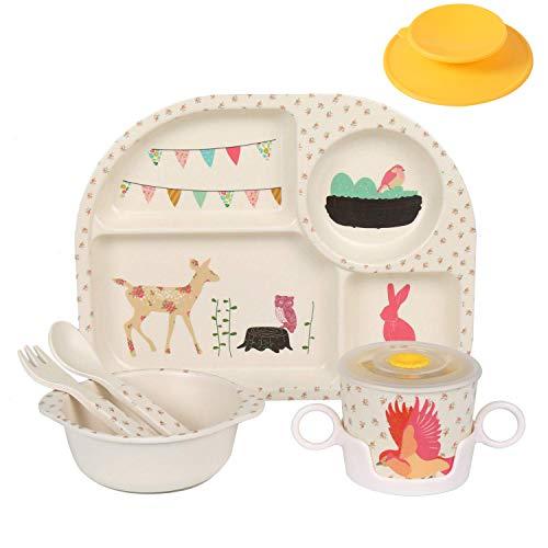 Shopwithgreen 5Pcs/Set Bamboo Fiber Children Board Food Plate Bowl Cup Spoon Fork Set Dishware Cartoon Tableware Dishwasher Safe Kids Healthy Mealtime (Animal)