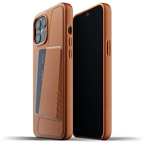 Mujjo Full Leather Wallet Case for iPhone 12 Pro Max | Premium Genuine Leather, Natural Aging Effect | Pocket for 2-3 Cards, Wireless Charging (Tan)