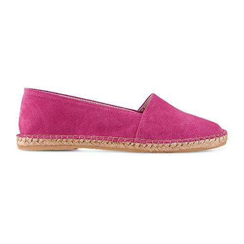 Cox Damen Velours-Espadrilles in Pink, federleichte Slipper mit Sohle aus geflochtenem Bast Pink Rauleder 38