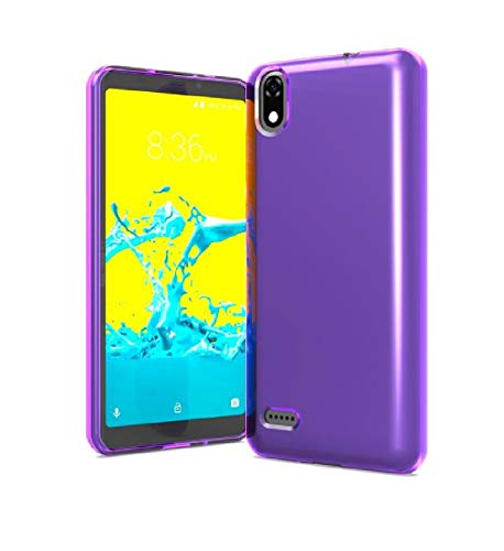 TPU Flexible Skin Protective Case Phone Cover for ZTE Avid 559 + Gift Stand (Purple)