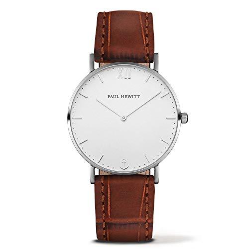 Paul Hewitt Unisex Erwachsene Analog Quarz Uhr mit Leder Armband PH-SA-S-St-W-14M