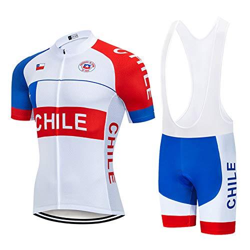 Maillots De Cyclisme Kits Homme,Chili L'Été Vélo Mtb Jersey Set Vêtements De Cyclisme Haut Porter Mens Quick-Dry Cycliste Shirt Rembourré Gel 3D De Jerseys Pour Le Cyclisme De Randonnée Vélo Sp