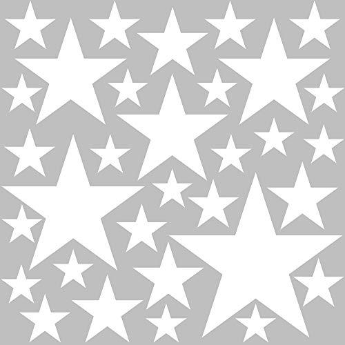 PREMYO 32 Estrellas Pegatinas Pared Infantil - Vinilos Decorativos Habitación Bebé Niños - Fácil de Poner Blanco