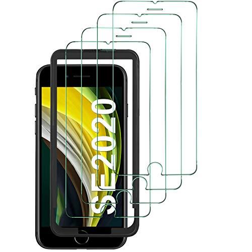 IVSO für iPhone SE 2020 Panzerglas[4 Stücke], iPhone SE 2 Panzerglas, HD Transparenz Schutz Gehärtetem Glas Displayfolie Schutzfolie für iPhone SE 2020 [Alignment Tool] [Anti-Kratzen] [Blasenfrei]