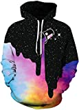 Imilan Women's Active Hoodie 3D Print Hooded Sweatshirt Galaxy Animal Unisex Pullover (Small/Medium, 01 Color Painting)