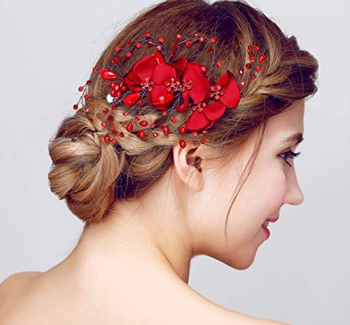 YUKANGI Coiffe de mariée faite à la main en épingle à cheveux rouge simple bijoux de mariage accessoires de robe de dame décoration de cheveux