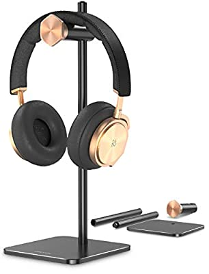 Headphone Stand Holder Adjustable,OMOTON Aluminum Headset Desktop Stand Holder with Non-Slip Silicone Base Applies to Sennheiser, Sony, Bose, Beats, AKG and More, Black from OMOTON