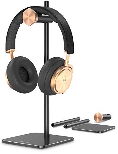 OMOTON Soporte Auriculares Mesa Ajustable para Gaming , Universal Soporte Auriculares para Juegos de Aluminio para Airpods Studio, Sennheiser, Sony, Audio-Technica, Beats y Etc. Base Estable - Negro