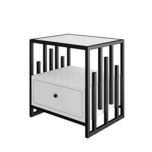 Equipo de estar Muebles de dormitorio con cajón Mesa de noche de metal Sofá de oficina Mesa de teléfono lateral Mesa de almacenamiento multifunción Tamaño: 50 * 40 * 50 CM (Color: B Tamaño: 50 * 40