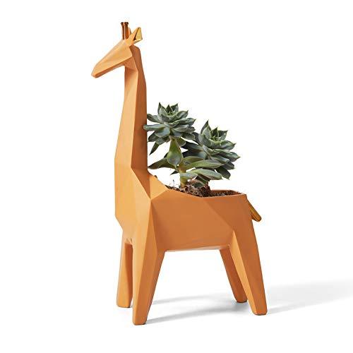 Amoy-Art Jardinera de Cactus Suculenta Figurillas Decorativas Jirafa Estatuilla Animale para el Hogar Regalos Resina 23cmH