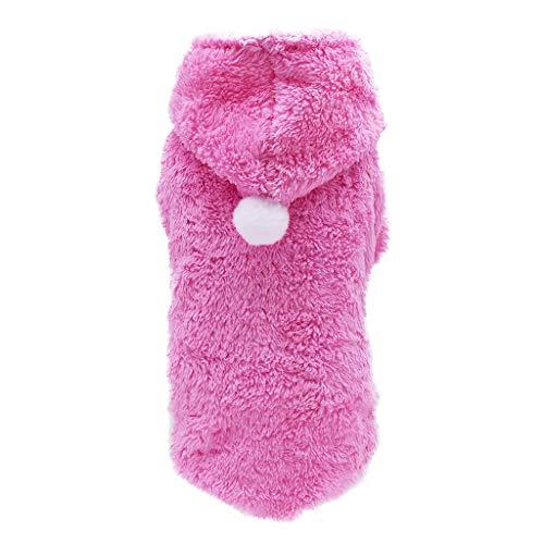 Fahooj hundebekleidung I Plüsch mit Kapuze Welpenmantel Stricken Hund Hoodie Pullover Haustier Welpen Mantel kleine Haustier Wintermantel (XS, Rosa)
