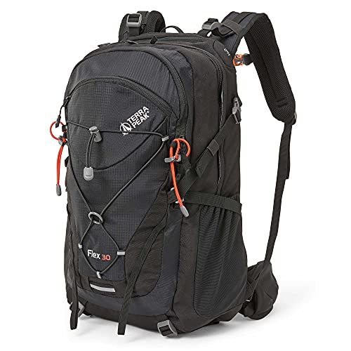 Terra Peak Flex 30 Wanderrucksack 30L schwarz mit wasserdichtem Polyester für Herren Damen hochwertiger Trekkingrucksack Outdoor Daypack mit YKK Reisverschluss zum wandern und campen in der Natur*
