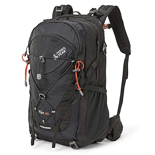 Terra Peak Flex 30 Wanderrucksack 30L schwarz mit wasserdichtem Polyester für Herren Damen hochwertiger Trekkingrucksack Outdoor Daypack mit YKK Reisverschluss zum wandern und campen in der Natur