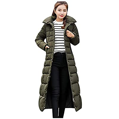 Women's Hooded Long Down Jacket Maxi Down Parka Puffer Coat Winter Hooded Coat Casual Loose Thick Overcoat Outwear (XXXL, Green)