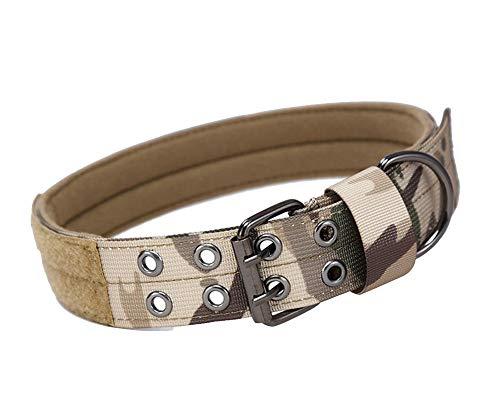 Collares tácticos Nylon para Perros, Nailon Militar Ajustable con Hebilla Doble de Metal en D para Entrenamiento de Perros de martingala MCMCP XL