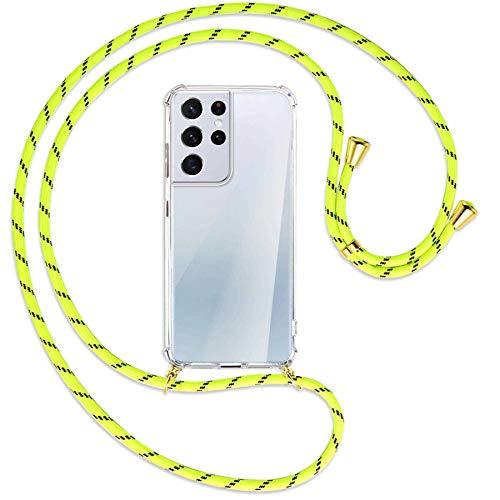 mtb more energy® Collana Smartphone per Samsung Galaxy S21 Ultra 5G (SM-G998, 6.8') - Strisce Giallo Neon/Oro - Custodia indossabile per Collo - Cover a Tracolla con cordina