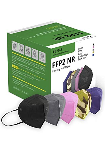AnDum Mascherine FFP2 Certificate CE Colorate 20 pezzi Nero Rosa Grigio Camouflage Blu