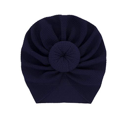 LABIUO 12 Couleurs Style Indien Noeuds Bonnet Bébé, Mode Chapeau Bandeau Turban Noeud Mou Tête Wraps pour Bébé Filles Bonnet Nouveau-Né Tout-Petits pour 0-2 Ans(Marine,Taille Unique)
