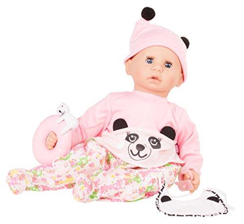 Götz 1761047 Cookie Happy Panda Puppe - 48 cm große Babypuppe mit blauen Schlafaugen, ohne Haare und einem Weichkörper - 7-teiliges Set