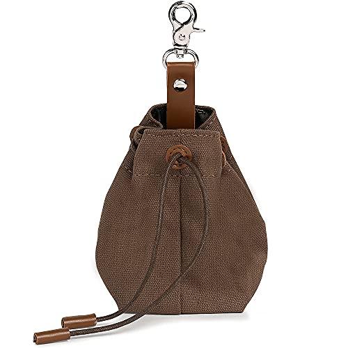 Foairs Leckerli-Beutel für Hunde, Futteraufbewahrung für Hundetraining, Schrumpftaschen Design mit Clip Schnalle,Hundeleckerli-Tasche für freihändiges, Braun