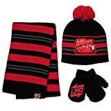 Disney boys Cars Lightning Mcqueen Scarf, and Gloves Set for Toddler Little Cold Weather Hat, Red/Black, Hat Mitten Set, Age 2-4, 2-4T US