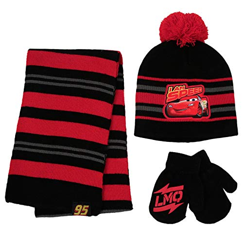 Disney Cars Lightning McQueen Scarf, Gloves Toddler and Little Boys, Red/Black, Hat and Mitten Set, Age 2-4