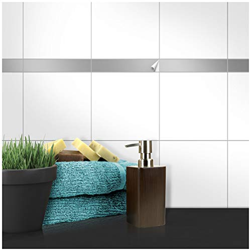 Wandkings Fliesenaufkleber - Wähle eine Farbe & Größe - Silber Seidenmatt - 2,5 x 15 cm - 20 Stück für Fliesen in Küche, Bad & mehr