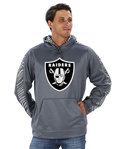 Zubaz Offizielles Lizenzprodukt der NFL Herren Grauer Pullover Hoodie Team-Farbe, Herren, NFL Oakland Raiders Pullover Hoodie, Zebra Accent, Sm, grau, Small