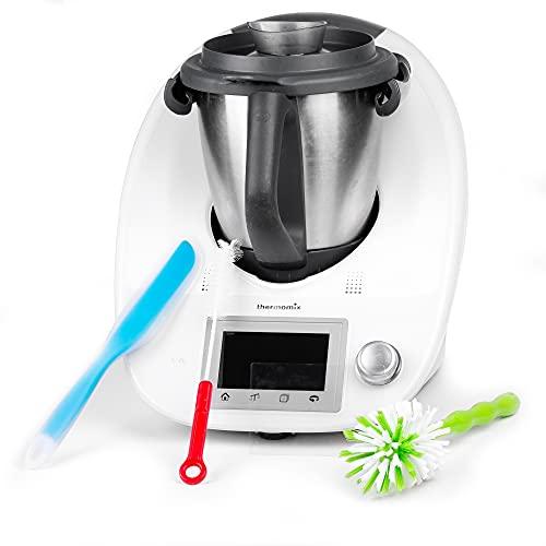 Thermomix Spatel aus weichem Silikon - Spatel als Küchenhelfer für den Thermomix - inklusive Zubehör mit 2 Reinigungsbürsten und 2 Displayschutzfolie für TM6