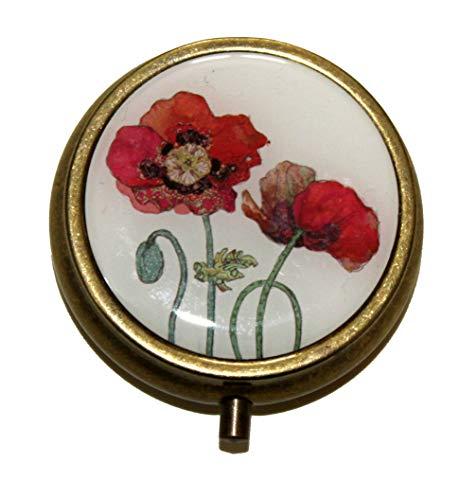 Pillendose mit Mohnblumen-Design, Antik-Messing-Optik, 5 cm