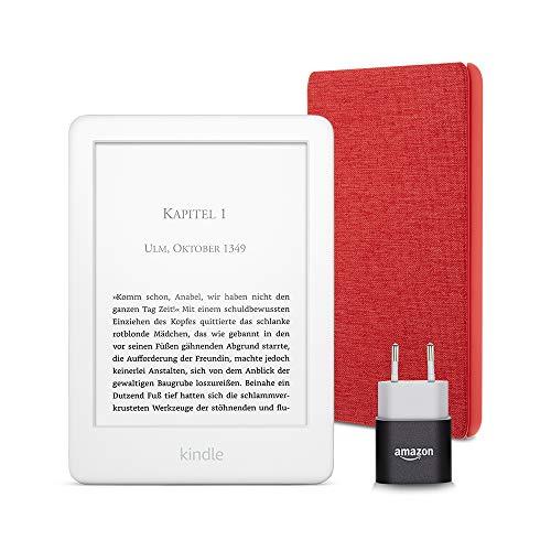 Kindle Essentials Bundle mit einem Kindle (Weiß) ohne Spezialangebote, einer Amazon-Hülle aus Stoff (Rot) und einem Amazon Powerfast 5-W-Ladegerät
