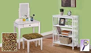 New White Finish Make Up Vanity Table with Mirror & Cheetah Animal Print Themed Bench And 4 Tier White Finish Book Shelf includes Free Hand & Purse Mirror!