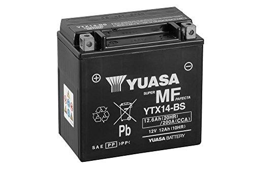 Batterie YUASA YTX14-BS, 12V/12AH (Maße: 150x87x145) für Kawasaki ZZR1400 Baujahr 2007