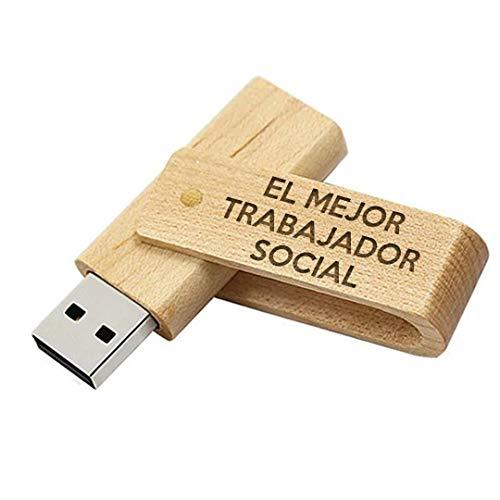Memoria USB el Mejor Trabajador Social del Mundo - Pendrive 16GB Madera Natural Flashdrive USB Regalo