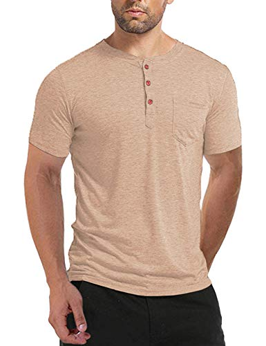 BABEIYXM Button Down Shirt Men, Juniors Short Sleeve Henley T-Shirts Front Pocket Tops Casual Summer Tees Khaki XL