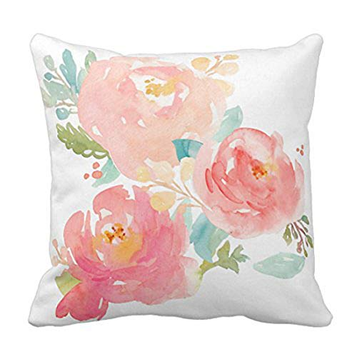 Emvency Throw Pillow Cover Flower Girly Peonies Summer Watercolor Pastel Floral Mint Decorative Pillow Case Home Decor Square 16 x 16 Inch Pillowcase