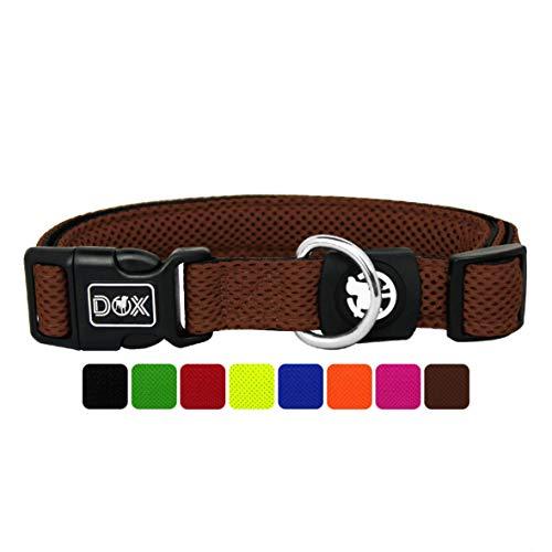 DDOXX Collar Perro Air Mesh, Ajustable, Acolchado | Muchos Colores & Tamaños | para Perros Pequeño, Mediano y Grande | Collares Accesorios Gato Cachorro | Marrón, L