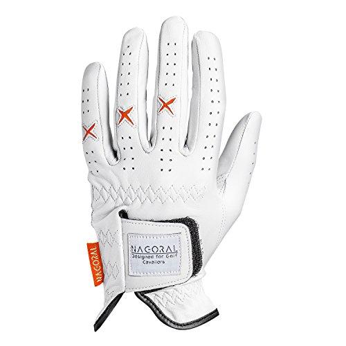 NAGORAL Golfhandschuh in Polarweiß mit orangefarbenen Elementen – 100% feines Cabretta Schafsleder für EIN perfektes Spielgefühl – für Herren – Links Designed for Golf Cavaliers
