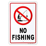 No Fishing Sign, 14'x 10' .04' Aluminum Reflective Sign Rust Free Aluminum-UV Protected and Weatherproof