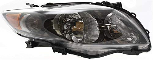 Evan-Fischer Headlight Assembly Compatible with 2009-2010 Toyota Corolla Halogen Black Interior S/XRS Models North America Built Passenger Side