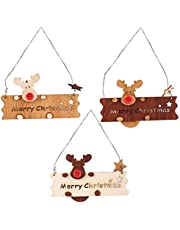Amosfun Christmas Wooden Hanging Pendant Christmas Tree Hanging Adornment Wall Door Merry Christmas Wooden Board 3pcs