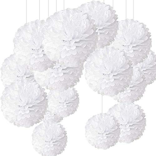 24 piezas Pompon de papel de seda, bolas de papel en forma de flor para fiestas de cumpleanos, bodas, baby shower, shower de novia o decoracion de festivales, blanco