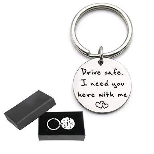 EDATOFLY Drive Safe - Schlüsselanhänger aus Edelstahl Schlüsselbund Personalisierte Kreative Schlüsselring Geschenk für Vater, Ehemann, Freund (Y-Silber)